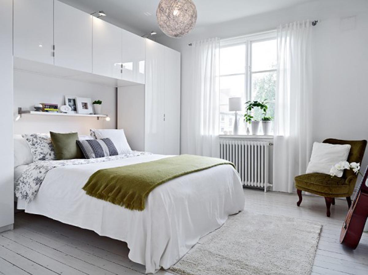 фото отделки белой спальни