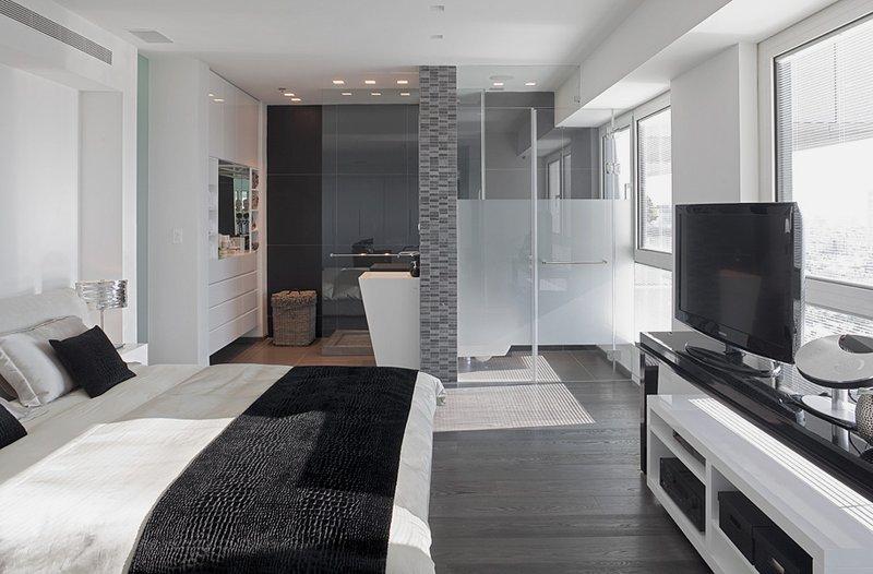 серый тон спальной комнаты