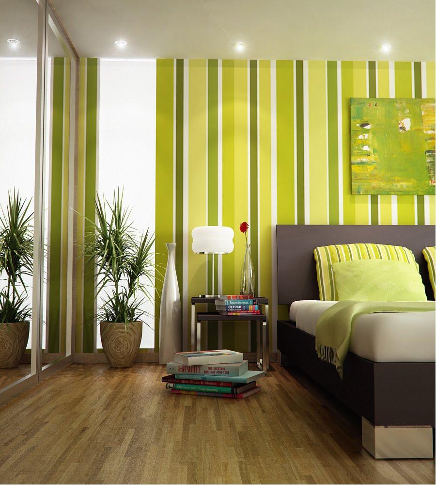спальная комната зеленые тона