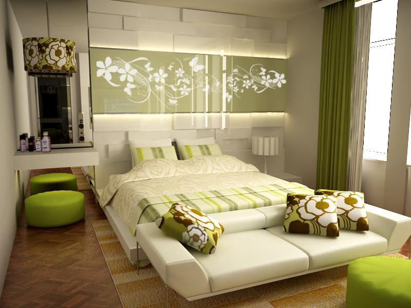 отличная и светлая зеленая комната