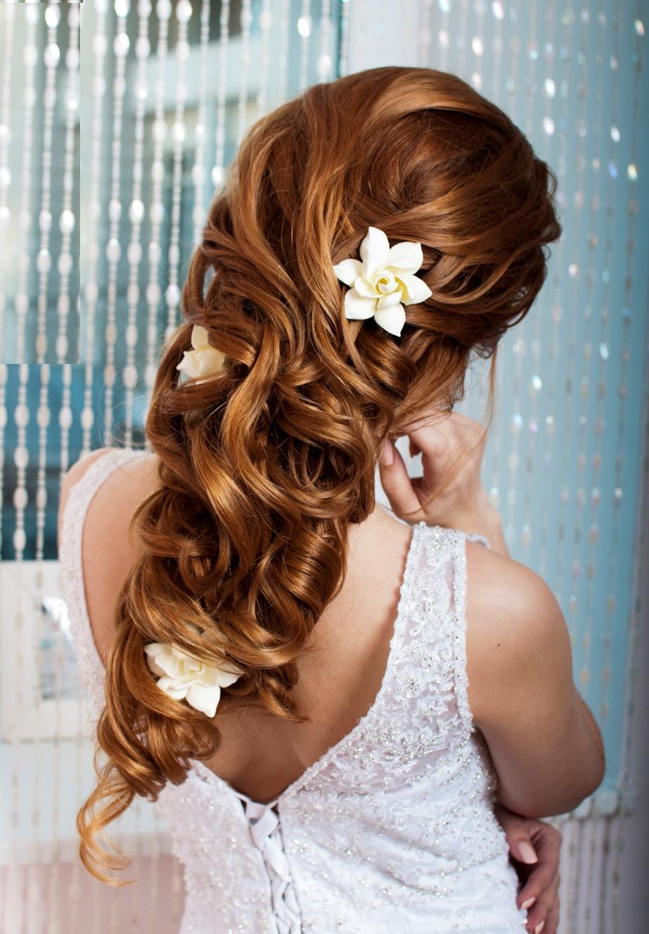 Прическа для невесты на длинные волосы фото